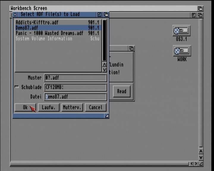 Screenshot Amiga 1200 / WB3.1 - ADF-Imagedatei auf Diskette zurück schreiben