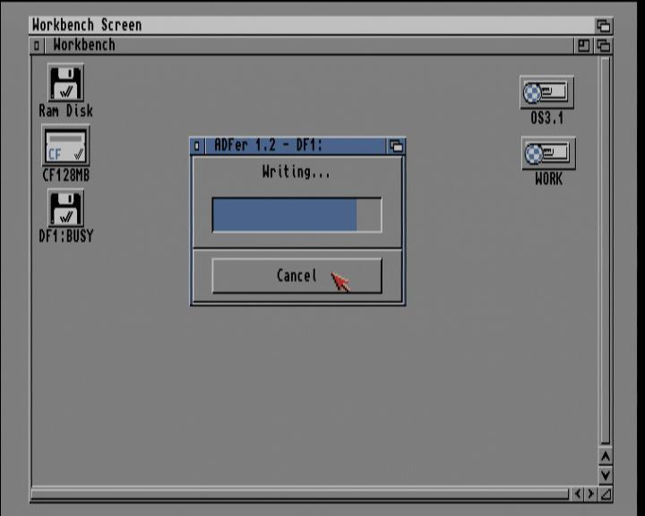 Screenshot Amiga 1200 / WB3.1 - ADF-Imagedatei auf Diskette zurück schreiben (Statusanzeige)