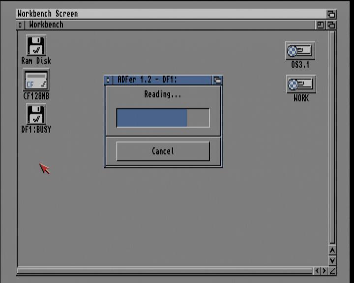 Screenshot Amiga 1200 / WB3.1 - ADF-Imagedatei von Diskette lesen (Statusanzeige)