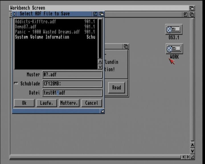 Screenshot Amiga 1200 / WB3.1 - ADF-Datei erstellen